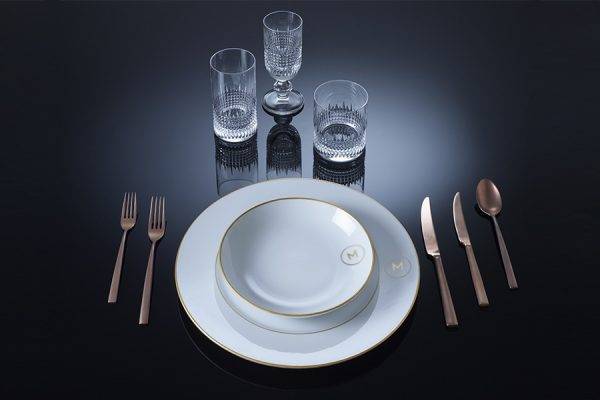 Golden age dinner set and Eva glasses