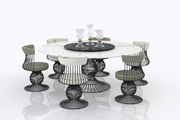 Round table with lazy susan